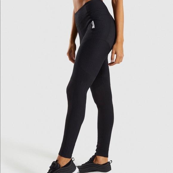 d2660e3a1e848 Gymshark Pants - NW Gym Shark True Texture Leggings in Black (M)